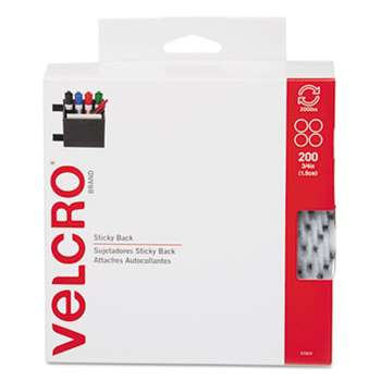 "VELCRO USA, INC. Sticky-Back? Fasteners, 3/4"" dia. Coins, White, 200/BX"