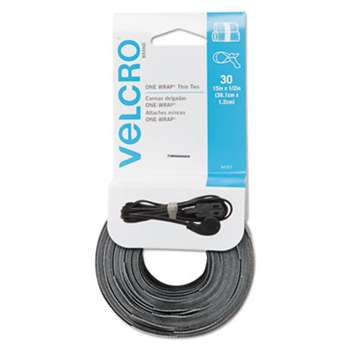 VELCRO USA, INC. Reusable Self-Gripping Cable Ties, 1/2 x 15 inches, Black/Gray, 30 Ties Each