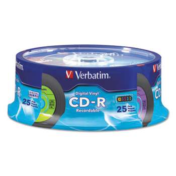 VERBATIM CORPORATION CD-R with Digital Vinyl Surface, 80min, 52X, 25/PK Spindle