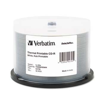 VERBATIM CORPORATION CD-R Discs, 700MB/80min, 52x, Spindle, White, 50/Pack