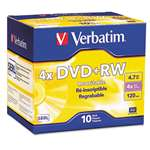 VERBATIM CORPORATION DVD+RW Discs, 4.7GB, 4x, w/Slim Jewel Cases, Pearl, 10/Pack