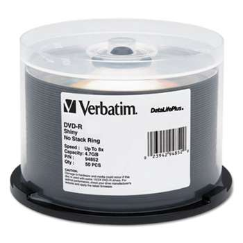 VERBATIM CORPORATION DataLifePlus DVD-R, 4.7GB, 8X, Shiny Silver Silk Screen Printable, 50/PK Spindle