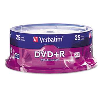 VERBATIM CORPORATION DVD+R Discs, 4.7GB, 16x, Spindle, Silver, 25/Pack