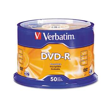 VERBATIM CORPORATION DVD-R Discs, 4.7GB, 16x, Spindle, Silver, 50/Pack