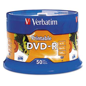 VERBATIM CORPORATION DVD-R Disc, 4.7 GB, 16x, White, 50/Pk