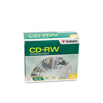 VERBATIM CORPORATION CD-RW Discs, 700MB/80min, 2X/4X, Slim Jewel Case, Matte Silver, 10/Pack