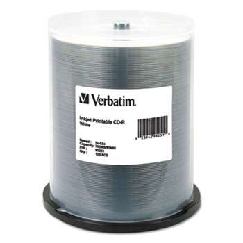 Verbatim 95251 CD-R, 52x, 700MB, Inkjet Printable, White, 100/Pack