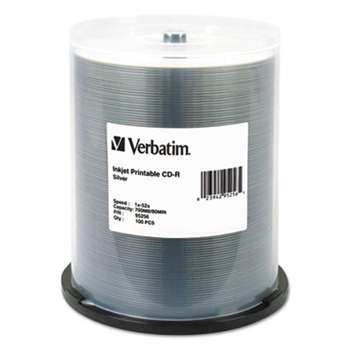 VERBATIM CORPORATION CD-R, 700MB, 52X, Silver Inkjet Printable, 100/PK Spindle