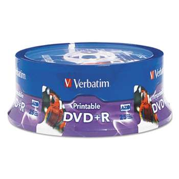 VERBATIM CORPORATION DVD+R, 4.7GB, 16X, White Inkjet Printable, Hub Printable, 25/PK Spindle