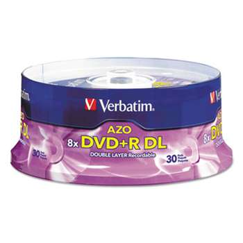VERBATIM CORPORATION Dual-Layer DVD+R Discs, 8.5GB, 8x, Spindle, 30/PK, Silver