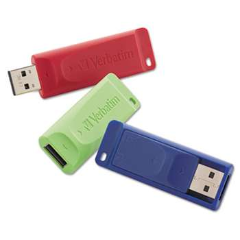 VERBATIM CORPORATION Store 'n' Go USB 2.0 Flash Drive, 4GB, Blue/Green/Red, 3/Pack