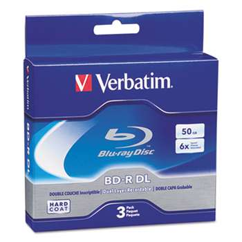 VERBATIM CORPORATION Blu-Ray BD-R Dual-Layer, 50 GB, 3/Pk