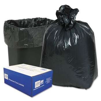WEBSTER INDUSTRIES 2-Ply Low-Density Can Liners, 7-10gal, .6mil, 24 x 23, Black, 500/Carton