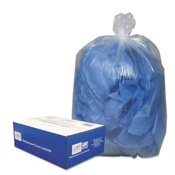WEBSTER INDUSTRIES Clear Low-Density Can Liners, 7-10gal, .6mil, 24 x 23, Clear, 500/Carton