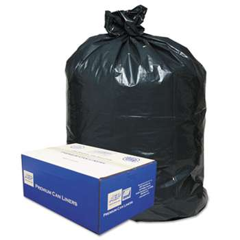 WEBSTER INDUSTRIES 2-Ply Low-Density Can Liners, 30gal, .71 Mil, 30 x 36, Black, 250/Carton