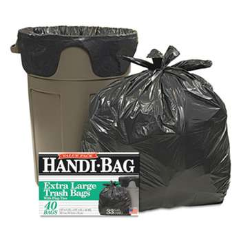 WEBSTER INDUSTRIES Super Value Pack Trash Bags, 33gal, .65mil, 32.5 x 40, Black, 40/Box