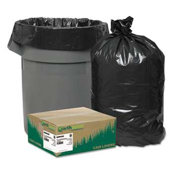 WEBSTER INDUSTRIES Recycled Can Liners, 33gal, 1.25mil, 33 x 39, Black, 100/Carton