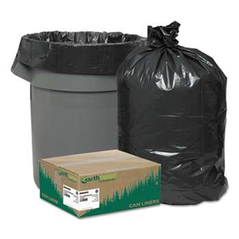 WEBSTER INDUSTRIES Recycled Can Liners, 40-45gal, 1.25mil, 40 x 46, Black, 100/Carton