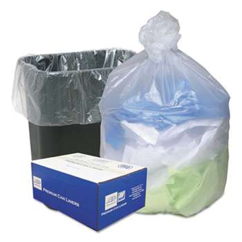 WEBSTER INDUSTRIES High Density Can Liners, 16gal, .315mil, 24 x 33, Natural, 200/Carton