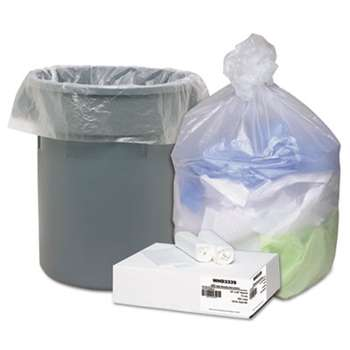 WEBSTER INDUSTRIES High Density Can Liners, 31-33gal, .433mil, 33 x 40, Natural, 100/Carton