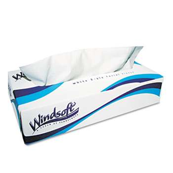 WINDSOFT Facial Tissue in Pop-Up Box, 100/Box, 30 Boxes/Carton