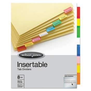 WILSON JONES CO. Single-Sided Reinforced Insertable Index, Multicolor 8-Tab, Letter, Buff