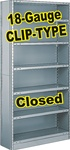 CLOSED STEEL SHELVING 18-GAUGE CLIP-TYPE, 5-SHELF UNIT