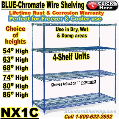 Blue-Chromate 4-Shelf Wire Shelving / NX1C