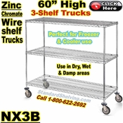 Zinc-Chromate Wire 3-Shelf Trucks / NX3B