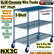 "Blue-Chromate Wire 3-Shelf Trucks 60""high / NX3C"