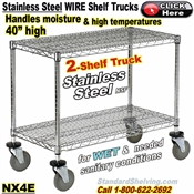 Stainless Steel 2-Shelf Wire Shelf Trucks / NX4E