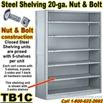 20 gauge Closed Steel Shelving / N&B / TB1C
