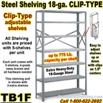 18 gauge Steel Shelving / Clip-Type / TB1F