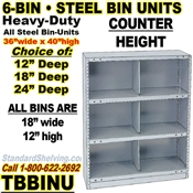 6-Bin Openings Steel Shelf Unit / TBBINU6