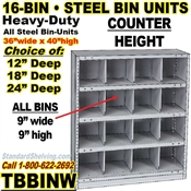 16-Bin Openings Steel Shelf Unit / TBBINW16