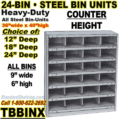 24-Bin Openings Steel Shelf Unit / TBBINX24