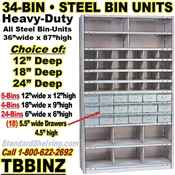 34-Bin Openings Combo 18-Drawer Steel Shelf Unit / TBBINZ34