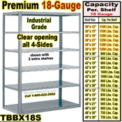 18 gauge Open Steel Shelving / Sturdy-Shelf / TBBX18S