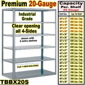 20 gauge Open Steel Shelving / Sturdy-Shelf / TBBX20S