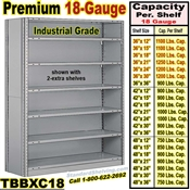 18 ga. Closed Steel Shelving / Clip-Type / TBBXC18