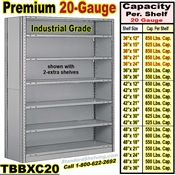 20 ga. Closed Steel Shelving / Clip-Type / TBBXC20
