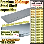 Extra 20 gauge Steel Welded Box Shelves / TBBXS20