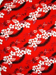 Red Sarong with Hawaiian Print & Black Leaves