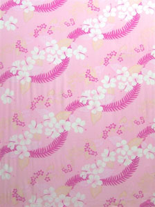 Pink Sarong with Hawaiian Print & Pink Leaves