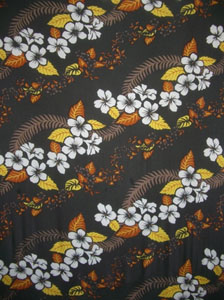 Brown Sarong with Hawaiian Print & Brown Leaves