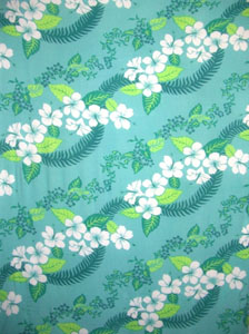 Green Sarong with Hawaiian Print & Green Leaves