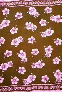 Brown Sarong with Pink Plumeria Flowers