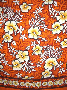 Orange and Red Traditional Hawaiian Print Sarong