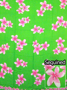 Sequined Green Sarong -Pink Plumeria Flowers
