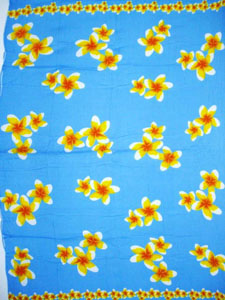 Light Blue Sarong with Yellow Plumeria